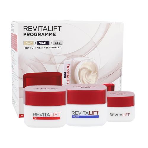 L´Oréal Paris Revitalift darčeková kazeta proti vráskam pre ženy denná pleťová starostlivosť 50 ml + nočná pleťová starostlivosť 50 ml + očný krém 15 ml