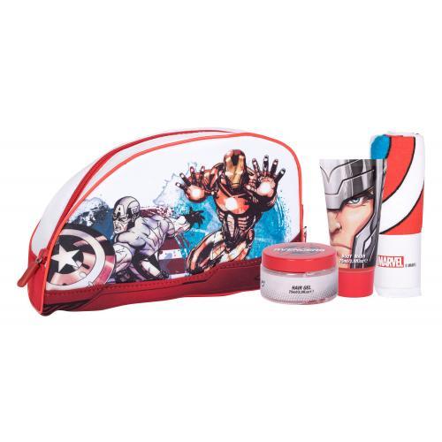 Marvel Avengers darčeková kazeta pre deti sprchovací gél 75 ml + gél na vlasy 75 ml + žinka + kozmetická taška