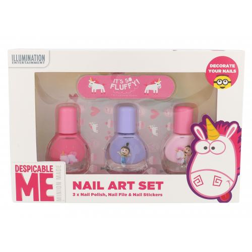 Minions Unicorns darčeková kazeta pre deti lak na nechty 3 x 4 ml + pilník 1 ks + samolepky na nechty