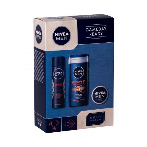 Nivea Men Sport darčeková kazeta poškodená krabička pre mužov sprchovací gél 250 ml + anti-perspirant 150 ml+ univerzálny krém Men Creme 30 ml