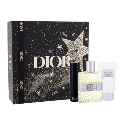 Christian Dior Eau Sauvage darčeková kazeta pre mužov toaletná voda 100 ml + sprchovací gél 50 ml + toaletná voda naplnitelná 10ml