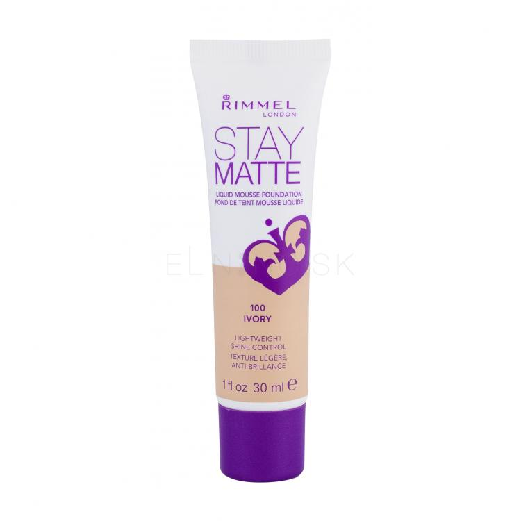 Rimmel London Stay Matte Liquid Mousse Foundation Make-up pre ženy 30 ml Odtieň 100 Ivory