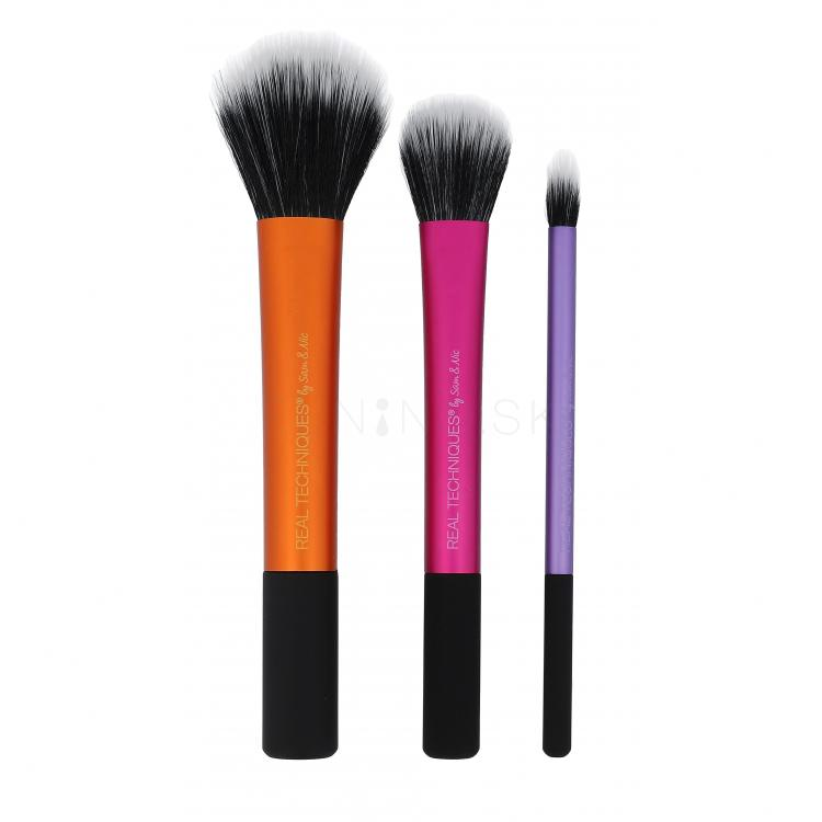 Real Techniques Brushes Duo-Fiber Collection Darčeková kazeta pre ženy štetec na tvár 1 ks + štetec na oči 1ks + konturovací štetec 1 ks